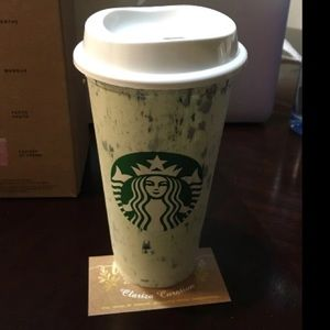 Starbucks Reusable White Marble Hot Cup